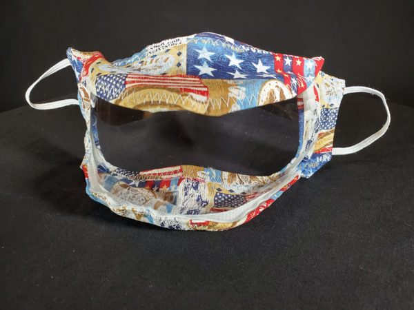 The Proud Patriot Face Mask with clear window / Clear Mask